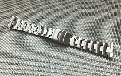 Brushed Stainless Steel Solid Link Safety Clasp Watch Strap 22mm Curved ends