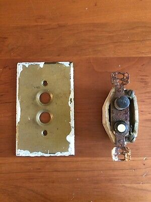 Push Button Light Switch vintage antique 2 wire porcelain With Switch Plate