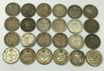 Huge lot of 24 Canadian Silver 5 Cent Pieces 1872-1920 Varying Dates