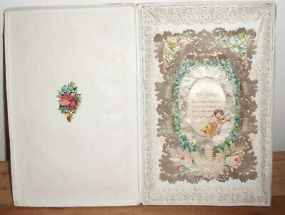 Victorian Valentine Card In Original Box Paper Lace Scraps & Silk 3D