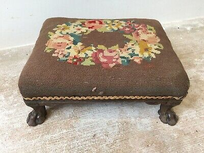 Tapestry Antique Footstool Embroidered Small Stool
