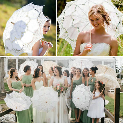 Lady Women Embroidery Lace Parasol Umbrella Wedding Dancing Bridal Party Decor