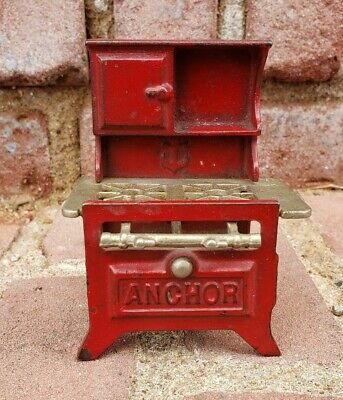 Antique Anchor Cast-Iron Miniature Gas Stove Toy/Doll/Salesman Sample NICE!