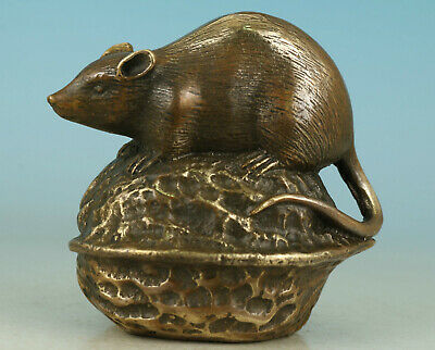 Lovely Old bronze Hand Carved Mouse walnut Eat enough Collect Statue Decoration