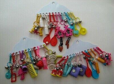 RETRO 1980's Plastic Bell Clip On 80's Necklace Vintage Charms New/Old Stock LOT