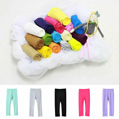 Girls Kids Childrens Plain Cotton Full Length Leggings All Age 12 Colours