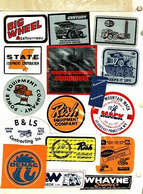 Nice Lot Of 16  Different Equiptment  Coal Mining Stickers # 980