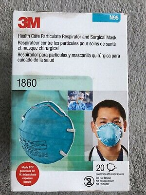 3M N95 Health Care Particulate Respirator Surgical Mask 1860 Pk20 Stained Packge