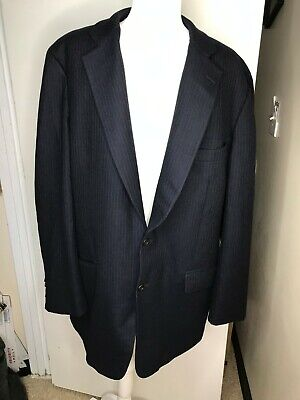 PAUL STUART WOOL NAVY BLUE PINSTRIPE 2 BTN BLAZER JACKET SZ 44L Long luxury nice