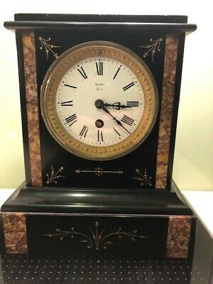 Victorian French Slate and marble Mantel Clock ; Ganz Paris