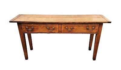 Solid Antique Oak French Console Serving Hall Side Table Georgian Farmhouse