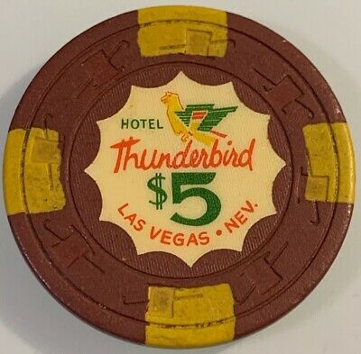 HOTEL THUNDERBIRD $5 Casino Chip Las Vegas Nevada 3.99 Shipping