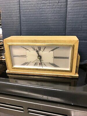 VINTAGE 1950s SETH THOMAS WORKING HEAVY BRASS TRIM OLD WOOD CLOCK