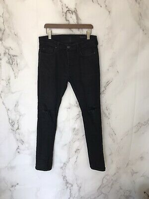 all saints Mens Jeans Size 33 Black Cigarette Skinny Ripped Knees Button Fly