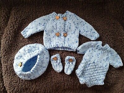"""Rebor Baby Doll Hand Knitted Blue Set For 10"""" Boy"""