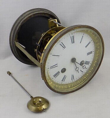 Antique Bell Striking French Clock Movement, Pendulum, Dial, Hands & Rear Door