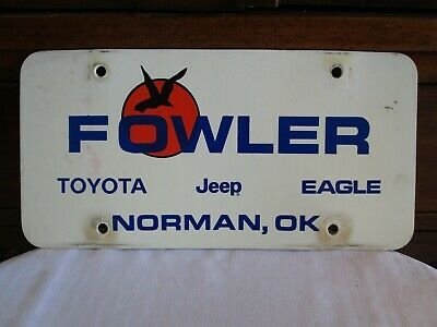 Vintage Fowler Jeep Eagle Toyota License Plate Norman Oklahoma