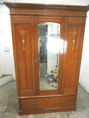 antique,edwardian,inlaid,mahogany,wardrobe,drawer,bedroom,mirrored door,hanging