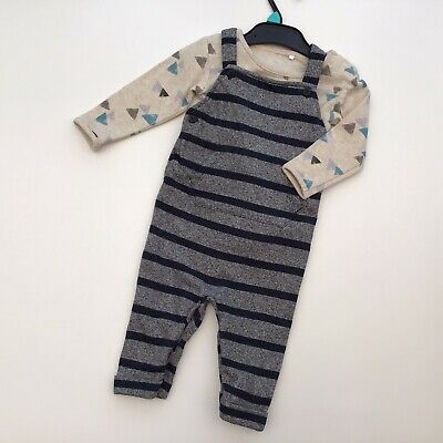Baby Boy Clothes 6-9 Months Pattern Bodysuit Navy Stripy Dungarees Outfit TU