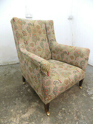 antique,victorian,arm chair,square legs,sprung,floral fabric,chair,castors,seat