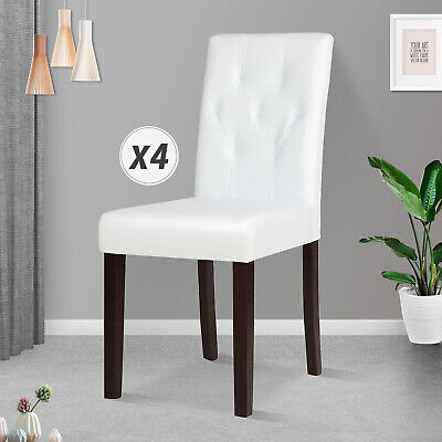 Elegant Tufted Design Leathe Dining Chairs Kitchen Cafe Chairs w/Wood Legs White