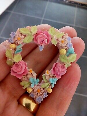 Vintage Art Nouveau Beautiful Hand Sculpted Fimo/Polymer Open Heart Roses Brooch