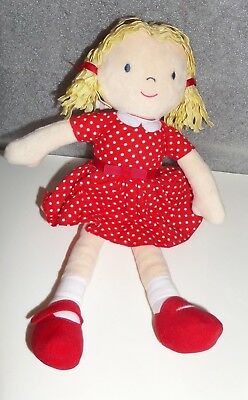 Marks And Spencer Red Dress Blonde Hait Girl Soft Toy Plush Bnwt