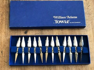 Vintage William Adams Towle Silver Plated Cob Holders 12 Italy