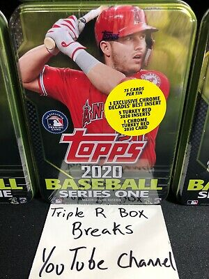 2020 Topps Series 1 Tin 75 Card Box 1 Chrome Decades Best Insert! Mike Trout