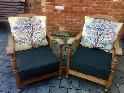 PAIR EARLY 20thC VINTAGE OAK RECLINING ARMCHAIRS - Arts & Crafts Style