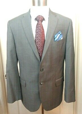 Mens Gray Plaid JOSEPH ABBOUD Blazer Jacket Italian Sport Suit Coat 44L Slim Fit