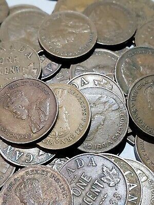 ROLL OF 50 KING GEORGE V 1920-1936 CANADA  CENTS  COINS (No 1922 to 1927) #229