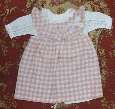 """Antique french original pinafore dress and blouse for doll about 17-18"""" tall"""