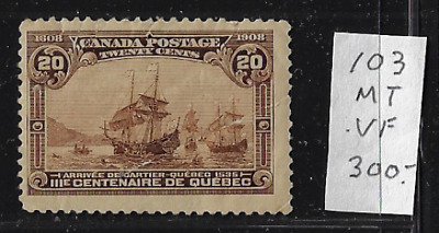 Canada Stamps — 1908, Arrival of Cartier at Quebec 20ȼ #103 MH — Lot 20628