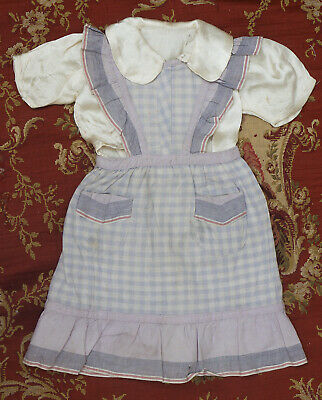 """Antique french original pinafore dress and blouse for doll about 22-23"""" tall"""