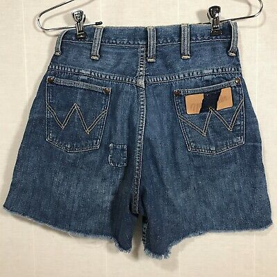 "VINTAGE 50s WRANGLER BLUE BELL DENIM LADIES CUT OFF JEAN SHORTS HIGH 26"" WAIST"