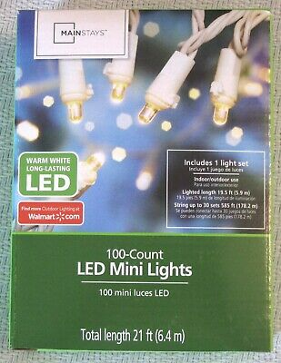 Mainstays 100 LED Warm White Mini Lights White Wire Indoor/Outdoor Wedding