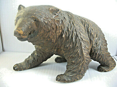 """Large Authentic AntiqueSwiss or Black Forest Bear """"11 1/2 """"  Hand CarvedWood"""