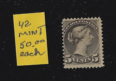 Canada Stamps — 1888-93, Small Queen issues, Queen Victoria 5ȼ #42 MH Lot 20646