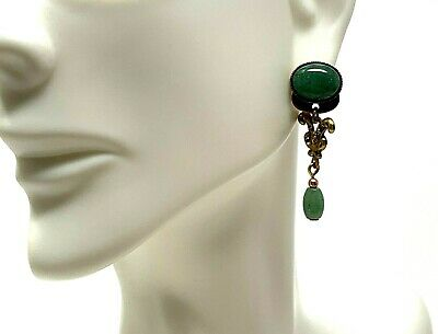 Silver Forest Earrings Green Aventurine Stone Antique Gold tone Post Style