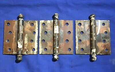 "3 Stanley SW sweetheart Vintage door hinges 4"" Copper colored cannon ball ends"