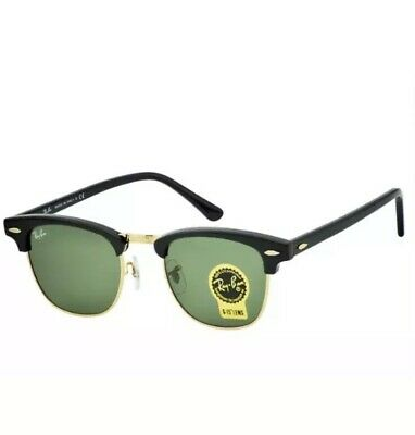 NEW Ray Ban Clubmaster Sunglasses Unisex RB3016 W0365 49mm Black Green AUTHENTIC