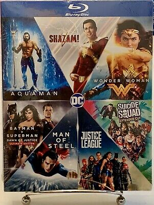 DC 7 Film Collection Shazam! Wonder Woman Aquaman Batman V Superman+ Blu-Ray Set