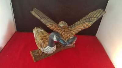 """Pair of Carved Wood Canadian Goose Duck Decoy Statue Figurine on Log 9""""W 7.5""""H"""
