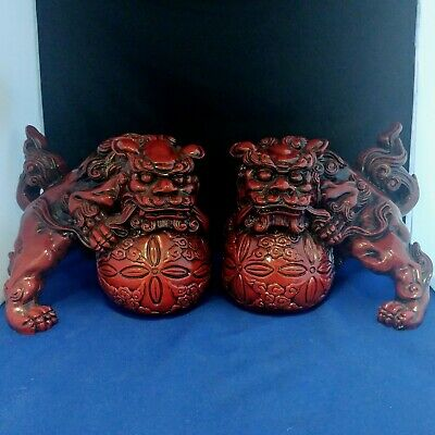 """Vintage Chinese cinnabar? Pair of Lucky Lion Foo Dog Statue figurine 8""""L 6.25""""H"""