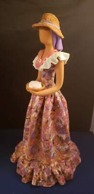 "Terracotta Signed Figurine Lady Beautifully Hand Painted 11.5""H Vintage"