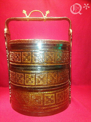 """20"""" VTG Chinese Wedding Basket Woven Wicker Rattan Carved Wood & Brass"""