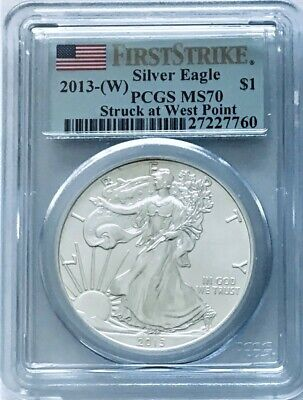 2013(W) Silver Eagle FIRST STRIKE WEST POINT MINT PCGS MS70 FLAG BLUE LABEL