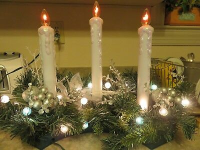Flicker candle Holiday  table decoration, 23 lights in blue and silver.