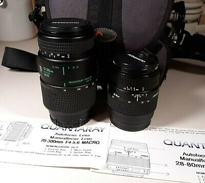 Quantaray Camera Lens Combo Tech 10 MX AF 70-300mm f4-5.6 and 28-80mm with Bag